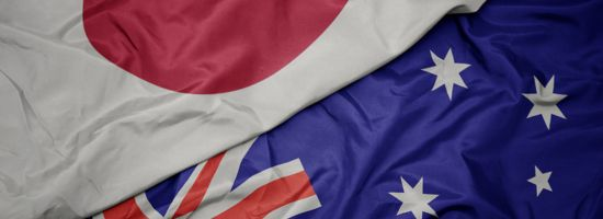 A Japanese & Australian flag next to each other